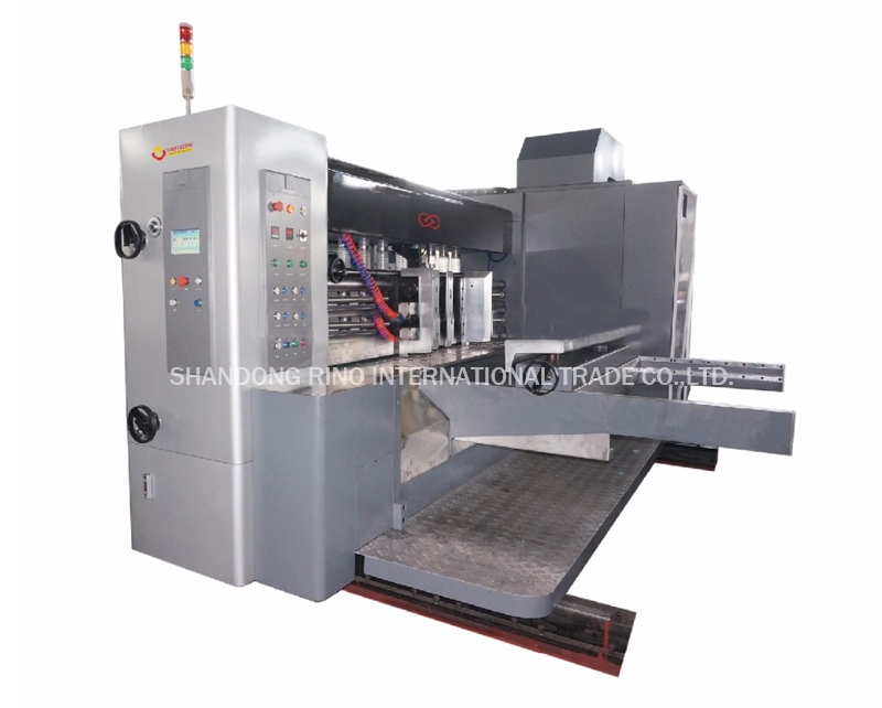Lead edge feeding flexo printer with die-cutter