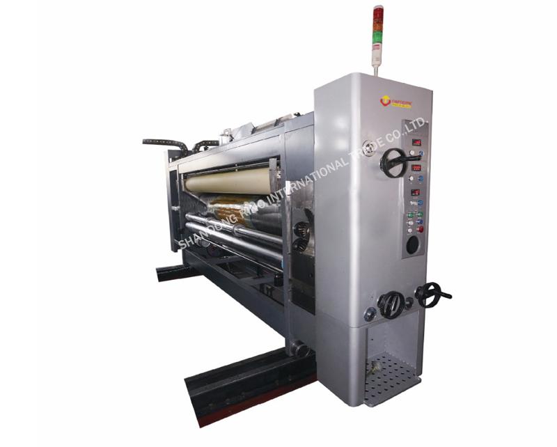 Lead edge feeding flexo printer with die-cutter